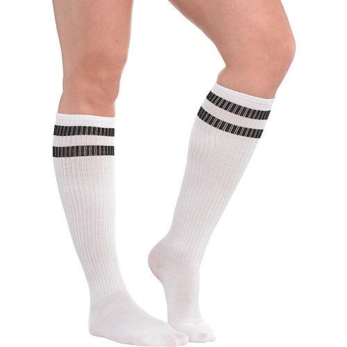 White Stripe Athletic Knee-High Socks Image #1
