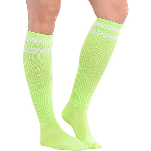 Neon Yellow Stripe Athletic Knee-High Socks Image #1