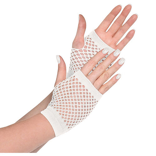 White Fishnet Glovelettes Image #1