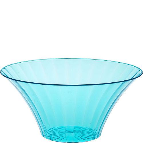 Large Caribbean Blue Plastic Flared Bowl Image #1