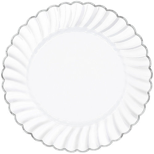 White Silver-Trimmed Premium Plastic Scalloped Dinner Plates 10ct Image #1