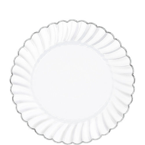 White Silver-Trimmed Premium Plastic Scalloped Lunch Plates 20ct Image #1