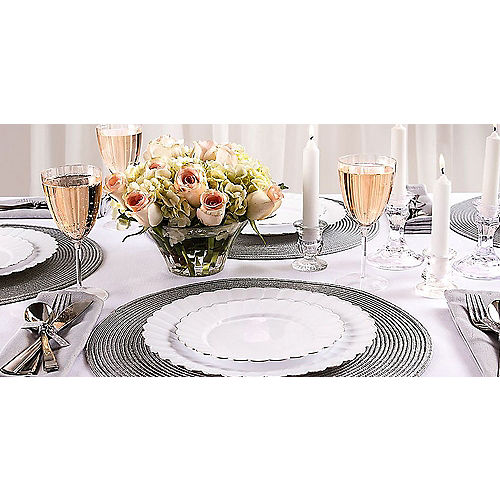 White Silver-Trimmed Premium Plastic Scalloped Lunch Plates 20ct Image #2
