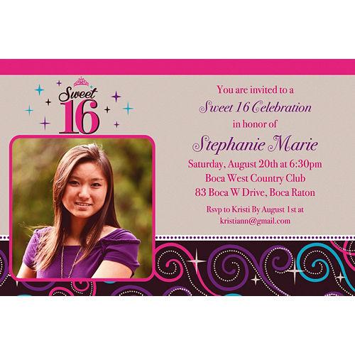 Custom Sweet 16 Celebration Photo Invitations Image #1