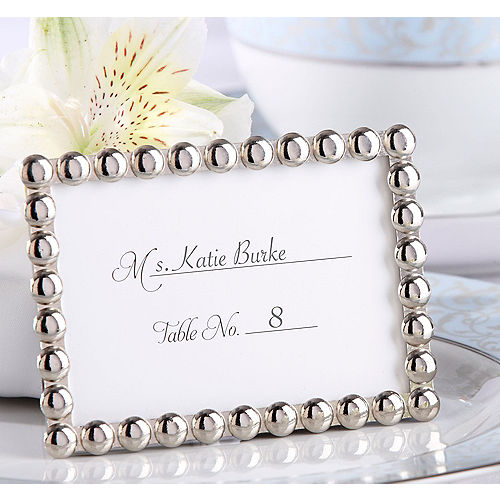 Silver Pearl Photo Frame Place Card Holder Image #1
