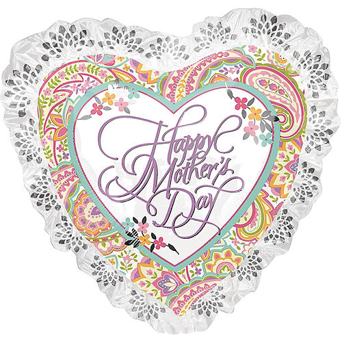 Giant Lace & Floral Mother's Day Heart Balloon, 28in Image #1