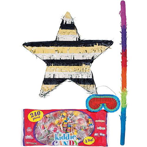 Foil Black, Silver & Gold Star Pinata Kit Image #1