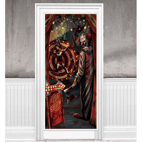 Evil Side Show Clown Door Cover - Creepy Carnival Image #1