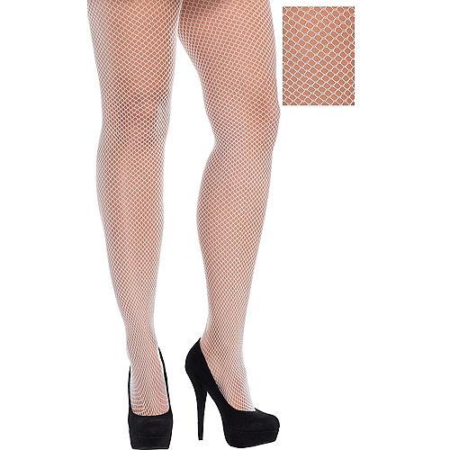 White Fishnet Stockings Plus Size Image #1