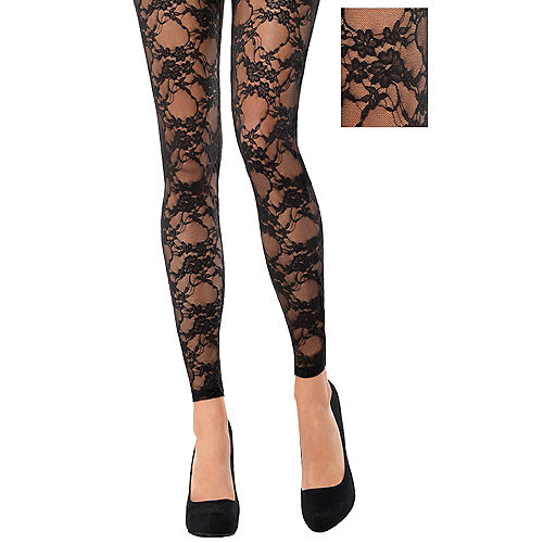 Black Lace Footless Tights Image #1
