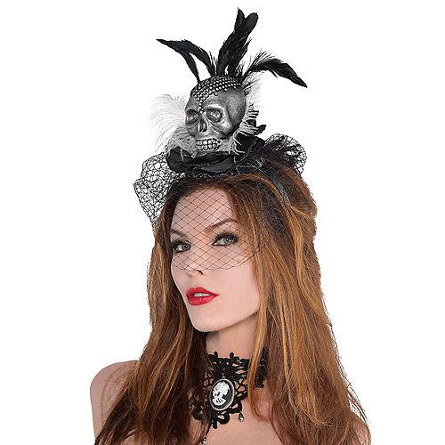 Skull Veil Headband Couture - Black & Bone Image #2
