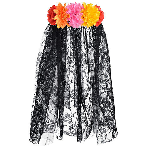 Floral Black Lace Veil - Day of the Dead Image #1