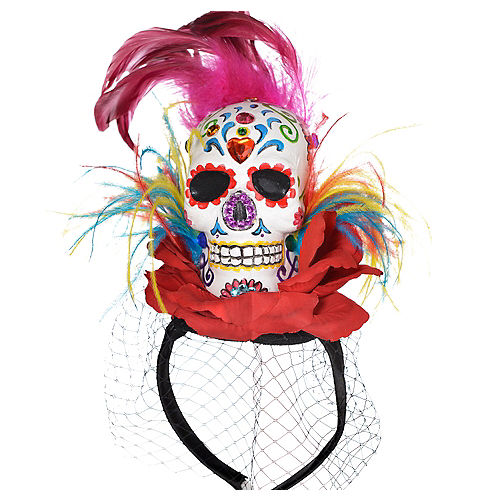 Sugar Skull Fascinator Headband Couture - Day of the Dead Image #1
