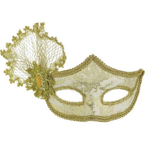 Gold Brocade Parisian Masquerade Mask Image #1