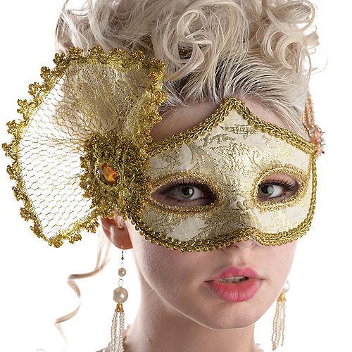 Gold Brocade Parisian Masquerade Mask Image #2