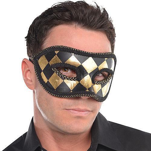 Black & Gold Harlequin Masquerade Mask Image #2