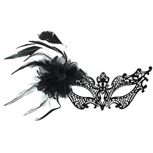 Black Filigree Feather Masquerade Mask Image #1