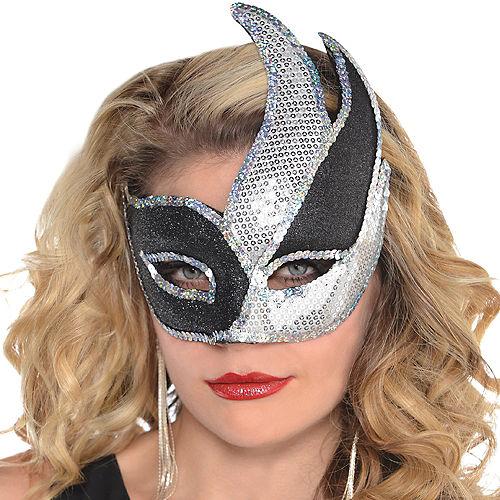 Black & Silver Sequin Masquerade Mask Image #2