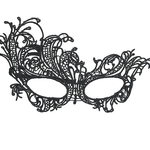 Black Lace Filigree Masquerade Mask Image #1