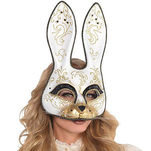 Glitter Gold Scroll Bunny Mask Image #2
