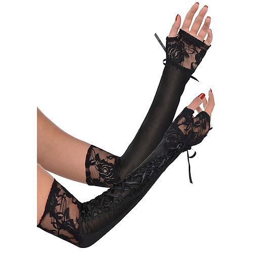 Black Lace-Up Long Gloves Image #1