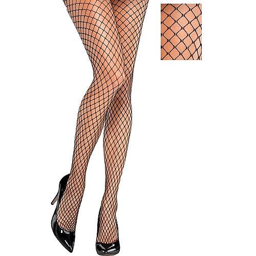 Black & Silver Diamond Fishnet Stockings Image #1