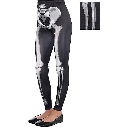 Child Skeleton Leggings - Black & Bone Image #1