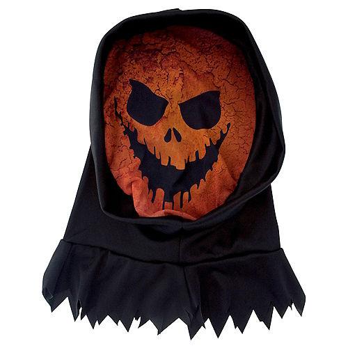 Hooded Scary Jack-o'-Lantern Mask Image #1