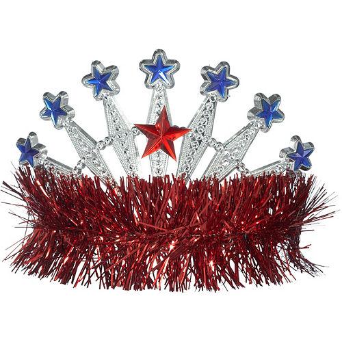 Red, White & Blue Star Tinsel Tiara Image #1