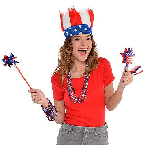 Patriotic Red, White & Blue Crazy Hair Headband Image #2