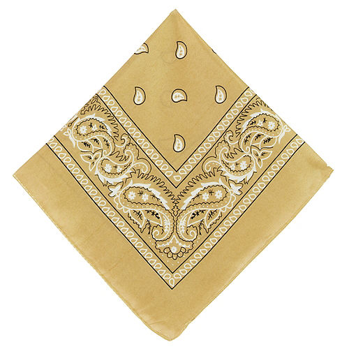 Gold Paisley Bandana, 20in x 20in Image #1