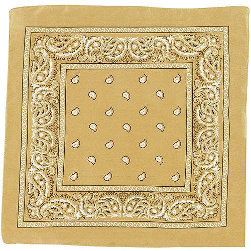 Gold Paisley Bandana, 20in x 20in Image #2