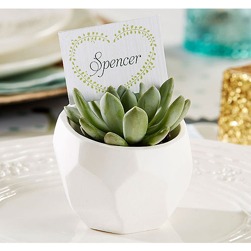 Succulent White Geometric Planters Image #1