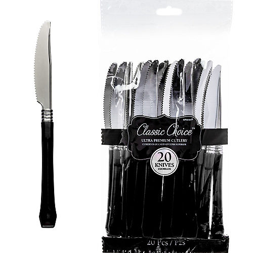 Classic Silver & Black Premium Plastic Knives 20ct Image #1