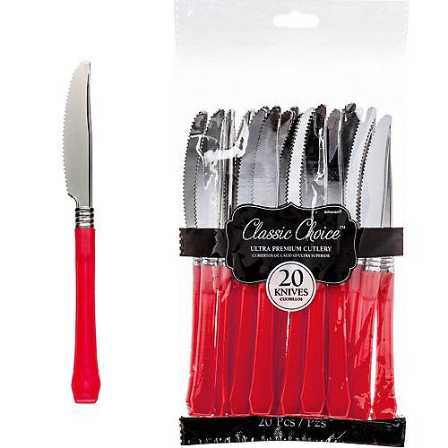 Classic Silver & Red Premium Plastic Knives 20ct Image #1
