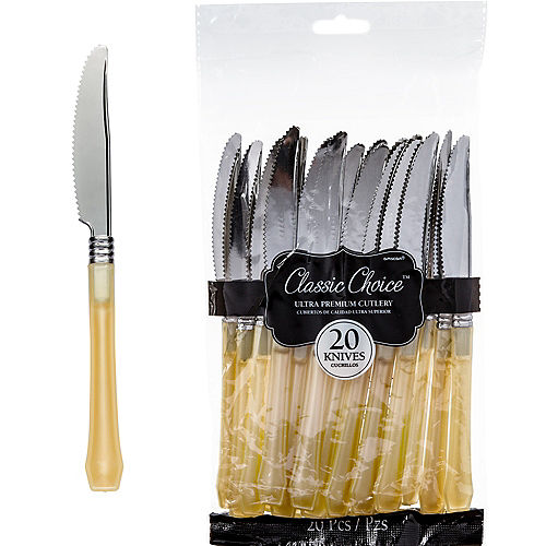 Nav Item for Classic Silver & Gold Premium Plastic Knives 20ct Image #1