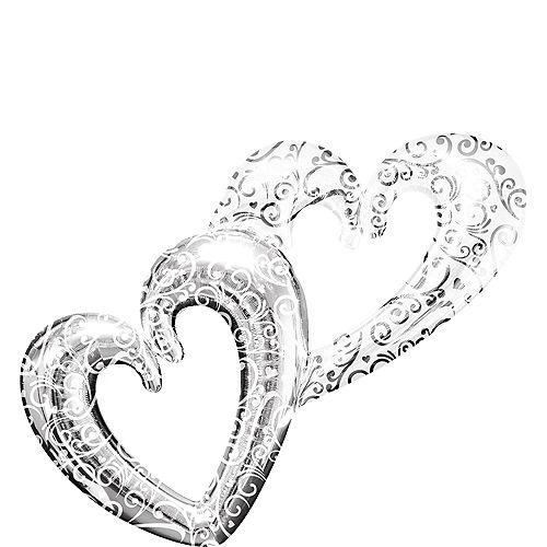 Silver Swirl Double Heart Balloon - Giant 53in x 36in Image #1
