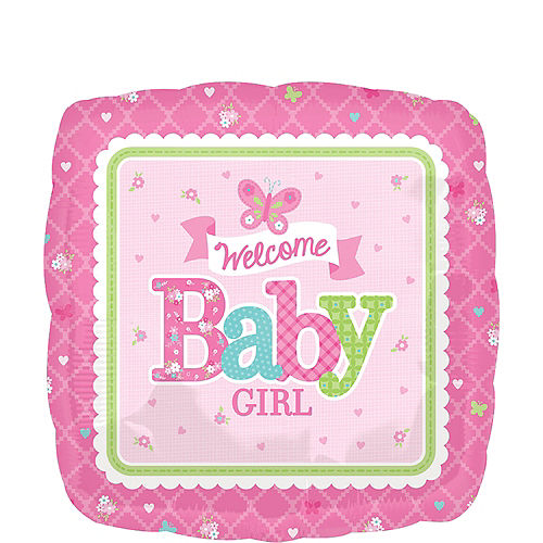 Girl Welcome Baby Balloon - Welcome Little One, 17in Image #1