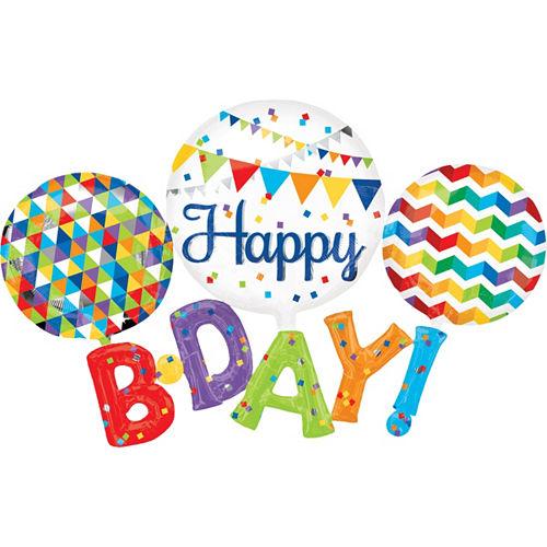 Happy Birthday Balloon - Giant Rainbow B-Day 56in x 36in Image #1