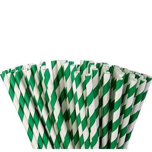 Festive Green Striped Paper Straws 80ct Image #1