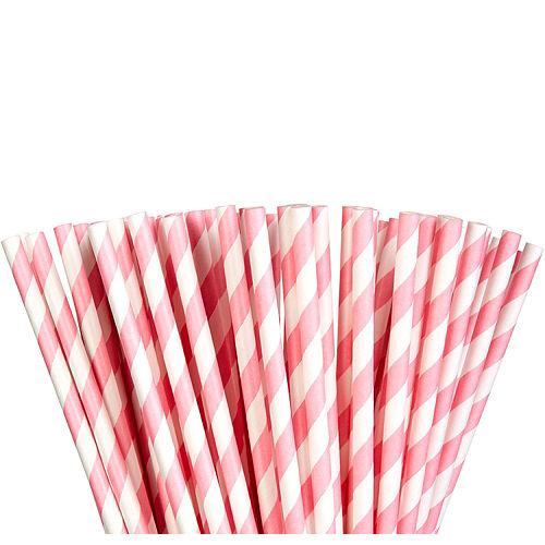Pink Striped Paper Straws 80ct Image #1