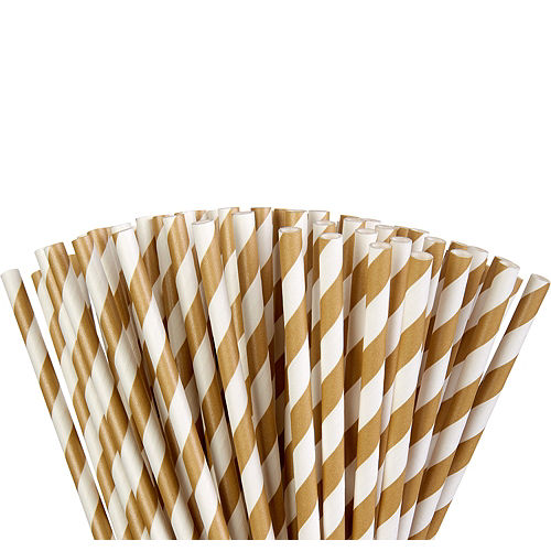 Gold Striped Paper Straws 80ct Image #1