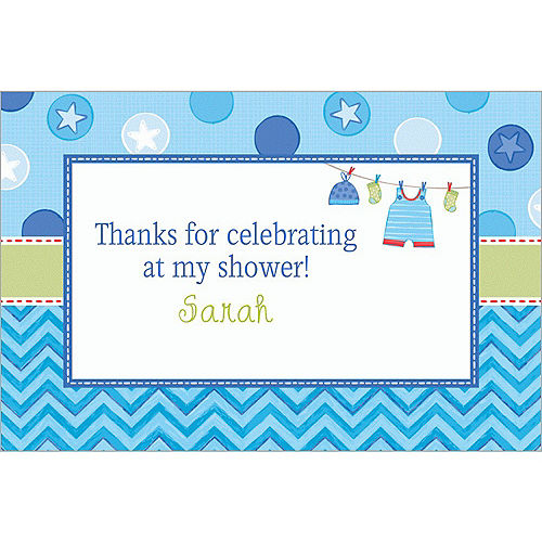 Custom Shower with Love Boy Thank You Notes Image #1