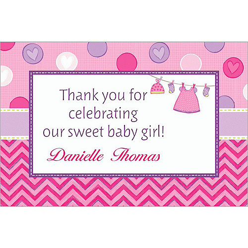 Custom Shower with Love Girl Thank You Notes Image #1