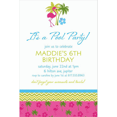 Custom Flamingo Fun Invitations Image #1