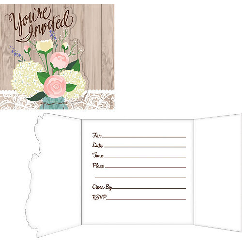 Rustic Wedding Invitations 8ct Image #1