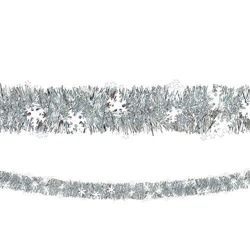Silver Snowflake Boa Tinsel Garland Image #1