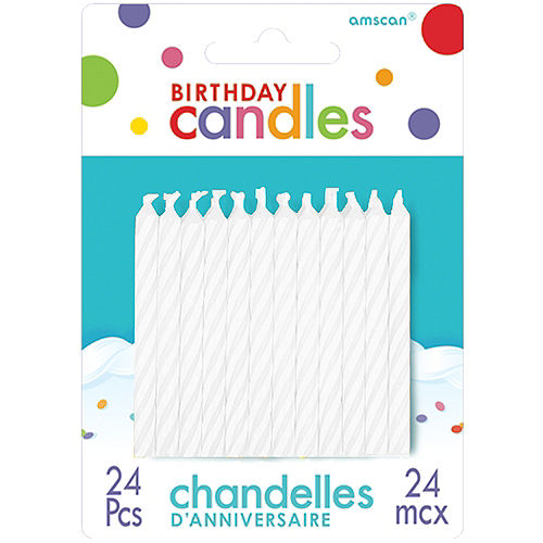 White Spiral Birthday Candles 24ct Image #1