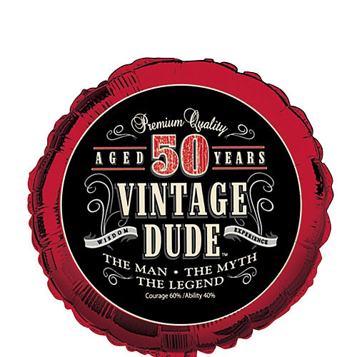 Vintage Dude 50th Birthday Balloon, 18in Image #1