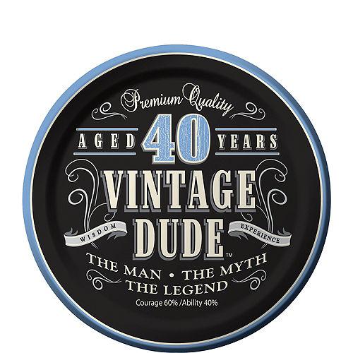 Vintage Dude 40th Birthday Dessert Plates 8ct Image #1